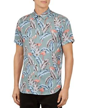 Ted Baker - Trtle Flamingo Slim Fit Camp Shirt