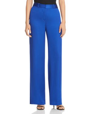 Arwen Wide-Leg Charmeuse Trousers in Blue