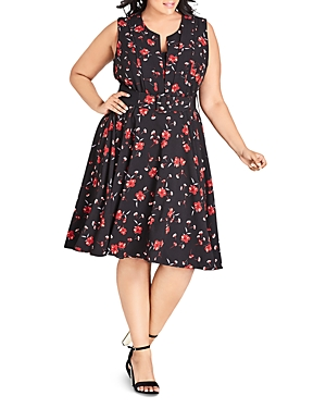 City Chic Plus In Love Floral-Print Sleeveless Dress
