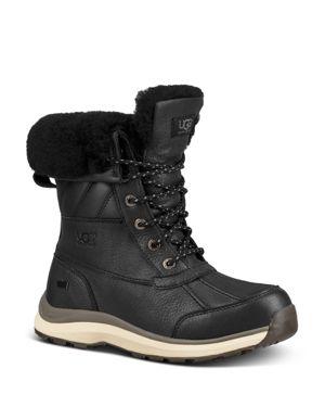 Women'S Adirondack Round Toe Leather & Suede Waterproof Booties, Black