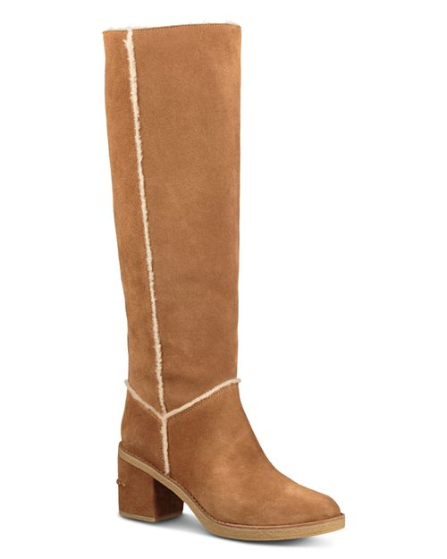 UGG® Women's Kasen Round Toe Suede & Sheepskin Tall Boots | Bloomingdale's