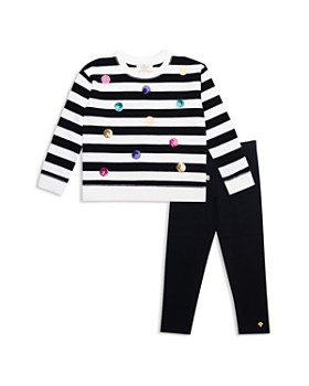 kate spade new york - Girls' Sequin Dot Striped Sweatshirt & Leggings Set - Little Kid