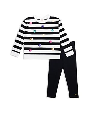 kate spade new york Girls Sequin Dot Striped Sweatshirt  Leggings Set  Little Kid