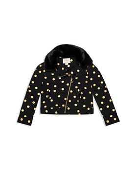 kate spade new york - Girls' Metallic Dot Moto Jacket - Little Kid