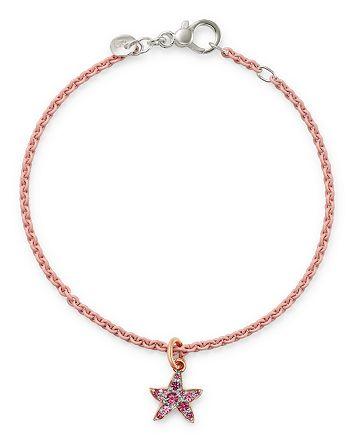 Dodo - Sterling Silver Starfish Charm Pink Spinel Bangle Bracelet