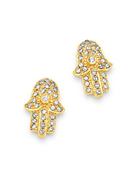 Moon & Meadow - Diamond Hamsa Stud Earrings in 14K Yellow Gold - 100% Exclusive