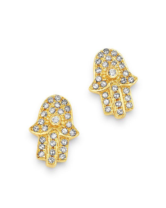 0c774252a Moon & Meadow - Diamond Hamsa Stud Earrings in 14K Yellow Gold - 100%  Exclusive