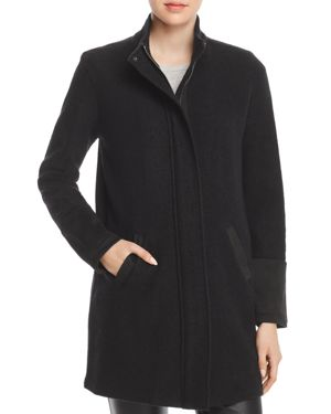 Karl Lagerfeld Paris Faux-Suede Trimmed Coat
