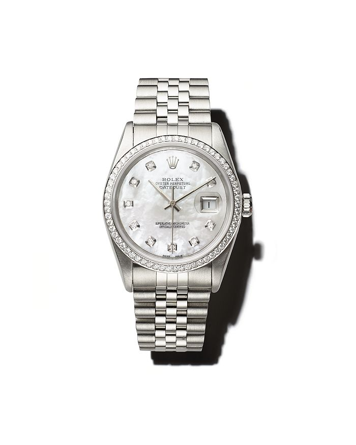 Pre-Owned Rolex - Stainless Steel and 18K White Gold Datejust Watch with Mother-of-Pearl Dial and Diamond Bezel, 36mm