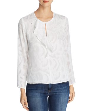 FINN & GRACE Long-Sleeve Ruffle-Trimmed Top in White
