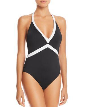 LAURÈN Lauren Ralph Lauren Bela V-Neck One Piece Swimsuit in Black