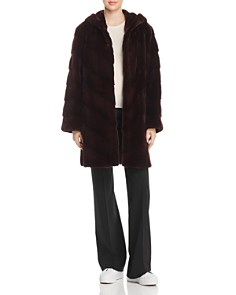 Maximilian Furs - Hooded Plucked Mink Fur Coat - 100% Exclusive