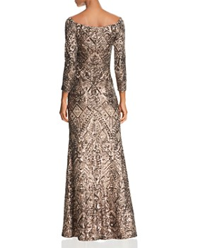AQUA - Off-the-Shoulder Sequined Gown - 100% Exclusive
