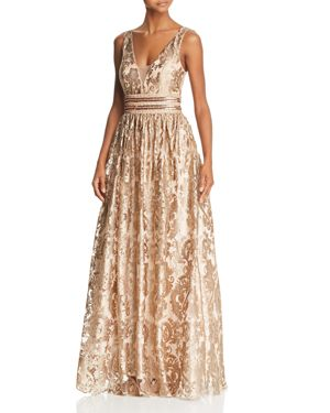 AVERY G Embellished Brocade Ball Gown in Gold
