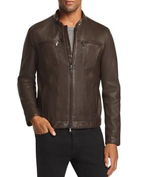 John Varvatos Star USA - Leather Band Collar Moto Jacket