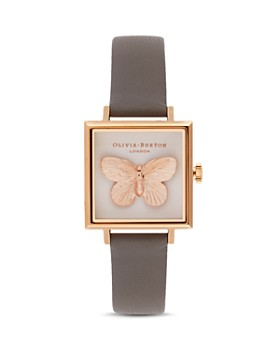 6e43d97ec Olivia Burton - 3-D Butterfly Gray Leather Strap Square Watch, ...