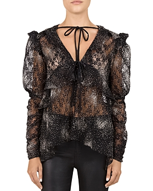 The Kooples SPARKLING GLITTER LACE TOP