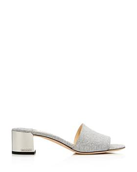 Jimmy Choo - Women's Block Heel Glitter Leather Sandals