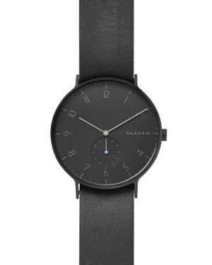 SKAGEN Men'S Aaren Black Leather Strap Watch 40Mm