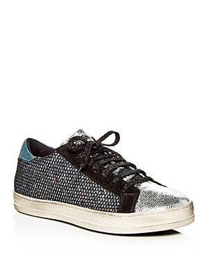 P448 Women's John Glitter Mesh & Suede Lace Up Sneakers