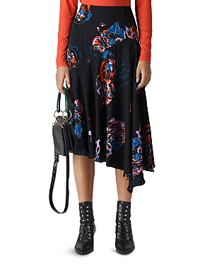 Whistles Freya-Print Asymmetric Skirt