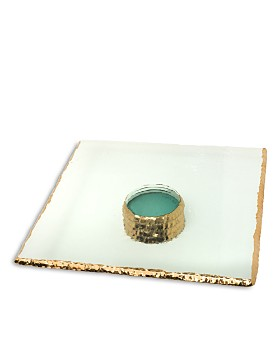Annieglass - Edgey 24K Gold & Glass Square Pedestal