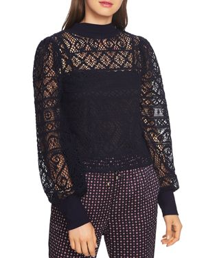 1.state Crochet Lace Mock-Neck Top