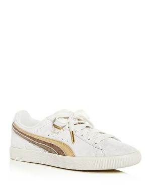 Clyde Metallic Leather Sneakers in White