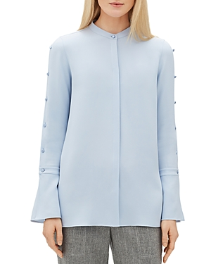 Lafayette 148 Tops NICOLETTE SILK BUTTON-SLEEVE BLOUSE