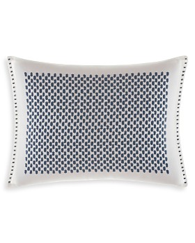 "Vera Wang - Shibori Grid White Bars Embroidered Breakfast Pillow, 12"" x 16"""