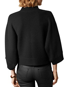 KAREN MILLEN - Faux Leather-Trim Sweater