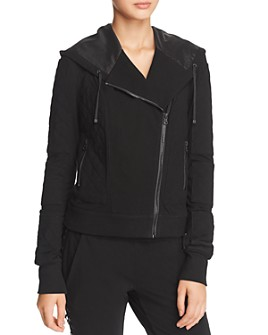 Blanc Noir - Hooded French Terry Moto Jacket
