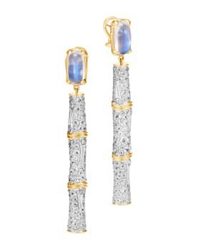 John Hardy - 18K Yellow Gold Cinta Bamboo Mulit-Stone Drop One-of-a-Kind Earrings with Diamonds - 100% Exclusive
