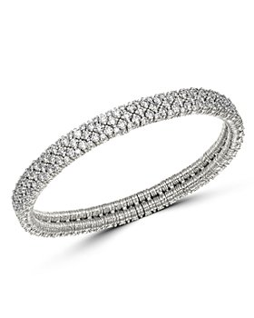 Roberto Demeglio - 18K White Gold Cashmere Collection Stretch Bracelet with Diamonds