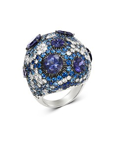 Roberto Coin - 18K White Gold Fantasia Blue Sapphire & Lolite Cocktail Ring with Diamond