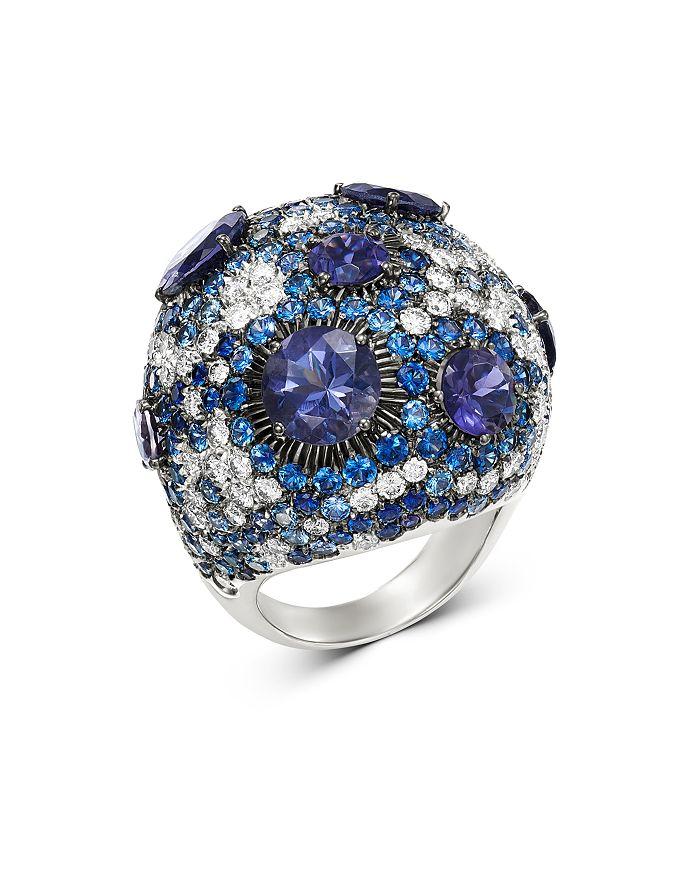 Roberto Coin - 18K White Gold Fantasia Blue Sapphire & Lolite Cocktail Ring with Diamond
