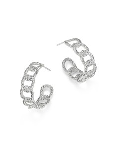 Roberto Coin - 18K White Gold Diamond Cable Huggie Earrings