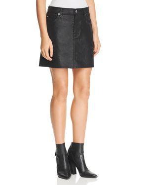 7 For All Mankind Coated Denim Mini Skirt in Black