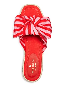 kate spade new york - Women's Caliana Striped Bow Flat Sandals