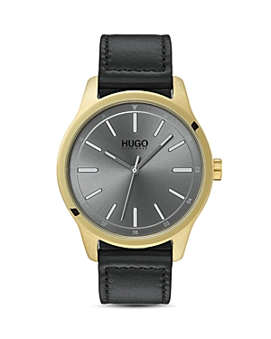 Hugo #Dare Gray Leather Watch, 42mm