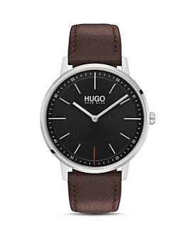 HUGO - #EXIST Brown Leather Watch, 40mm