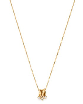 Zoë Chicco - 14K Yellow Gold Diamond Charm Necklace, 18""