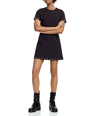 Shop Maje Risis Ringed Grommeted A Line Mini Dress In Black