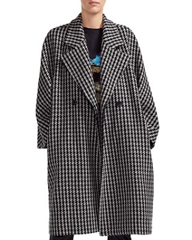 Maje - Oversize Double-Breasted Checked Coat