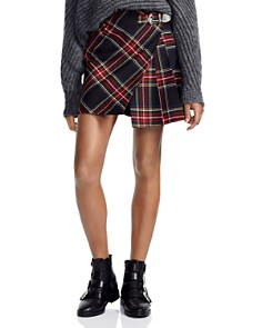 Maje - Judie Asymmetric Plaid Mini Skirt