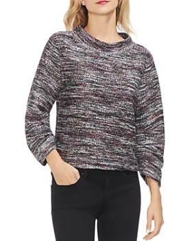 VINCE CAMUTO - Multicolored Boucle Mock Neck Top