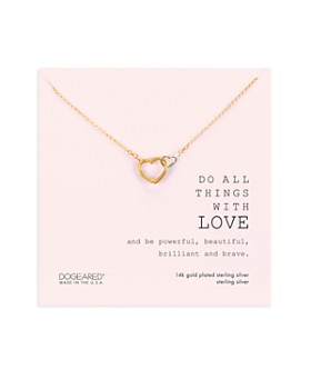"""Dogeared - Do All Things With Love Linked Hearts Necklace in 14K Gold-Plated Sterling Silver, 16"""""""