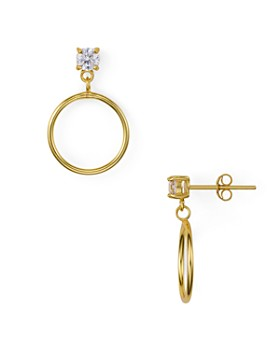 AQUA - Circle Drop Earrings in 18K Gold-Plated Sterling Silver or Sterling Silver - 100% Exclusive