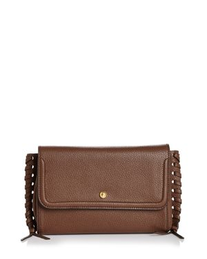 ANNABEL INGALL Emma Oversize Whipstitch Leather Clutch in Brown/Gold