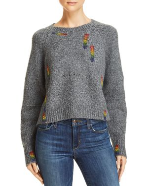 HONEY PUNCH Rainbow Beaded Sweater in Charcoal
